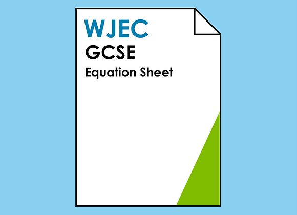 WJEC GCSE Equation Sheet