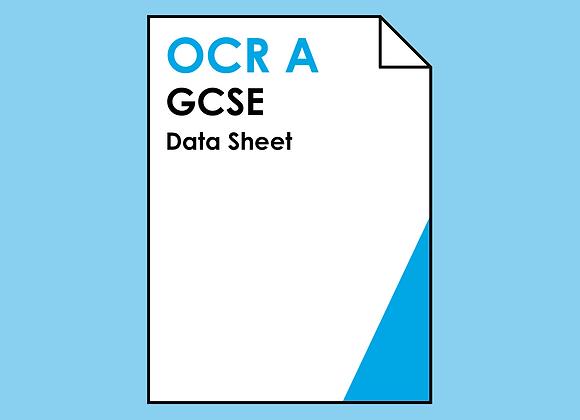 OCR A GCSE Data Sheet