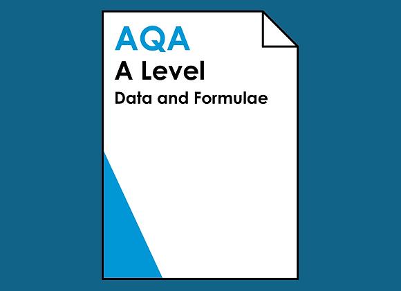 AQA A Level Data and Formulae
