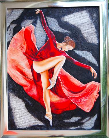 Danser sur la musique de la musique de l'amour - oïl peint &mixt -H:116cmxL:89 cm