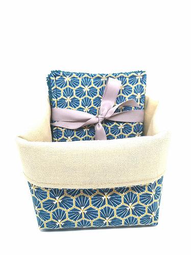 Panier tissus avec 5 lingettes lavable alvéole bleu