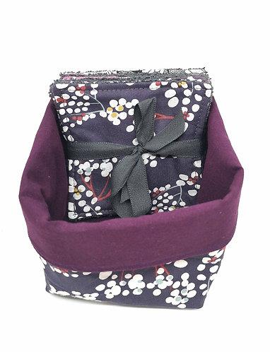 Panier tissus avec 5 lingettes lavable fleurs de cerisiers