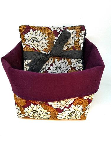 Panier tissus avec 5 lingettes lotus prune