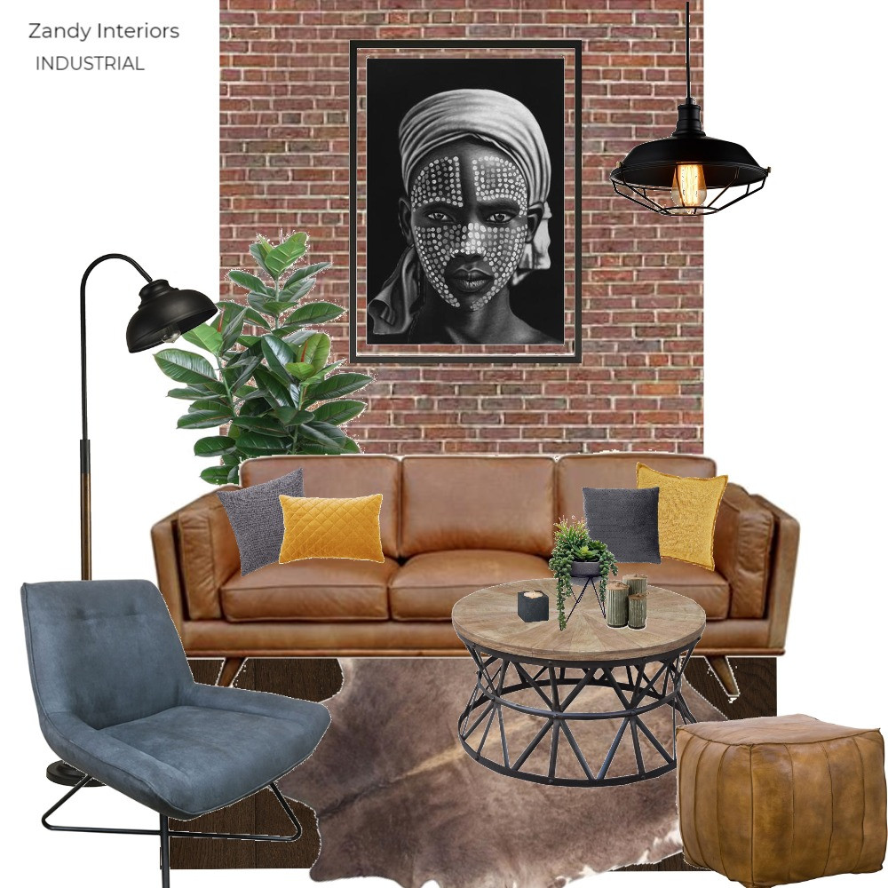 Industrial living room concept board