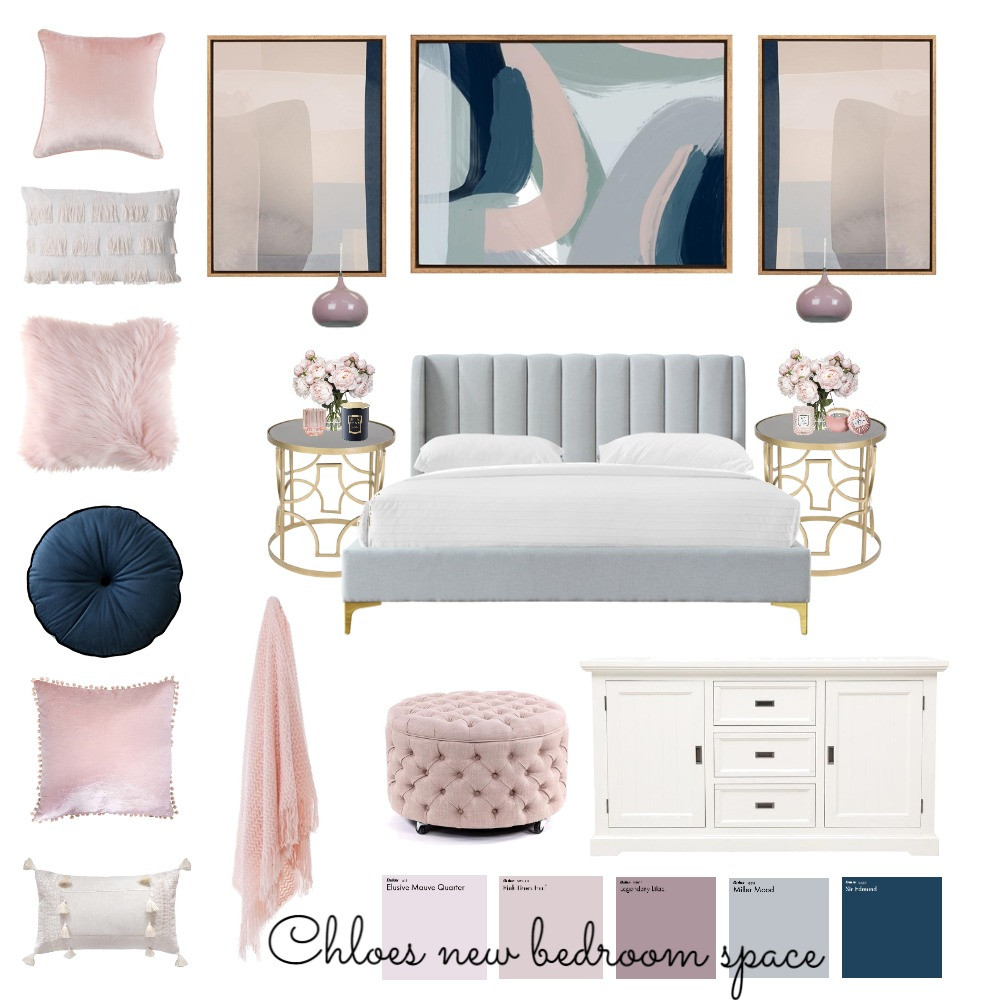 Transitional style bedroom concept board