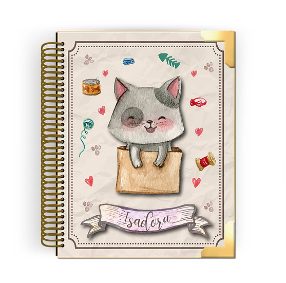 Gold Planner Cute Cat