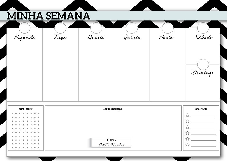 Desk Planner Chevron Black