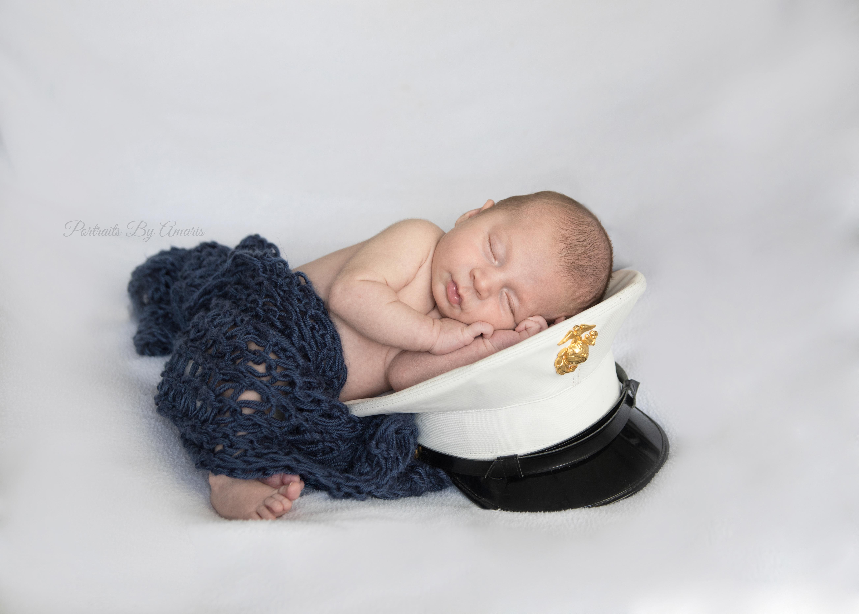 Newborn with Marine Hat
