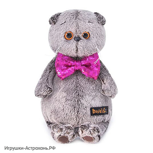 Мягкая игрушка Кот Басик в галстуке-бабочке с пайетками