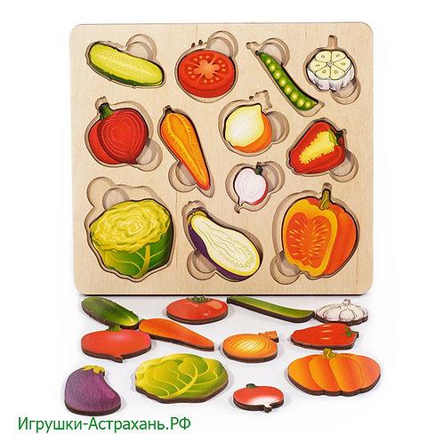 Нескучные игры. Развивающая доска Часть и целое Овощи с разрезными вкладышами