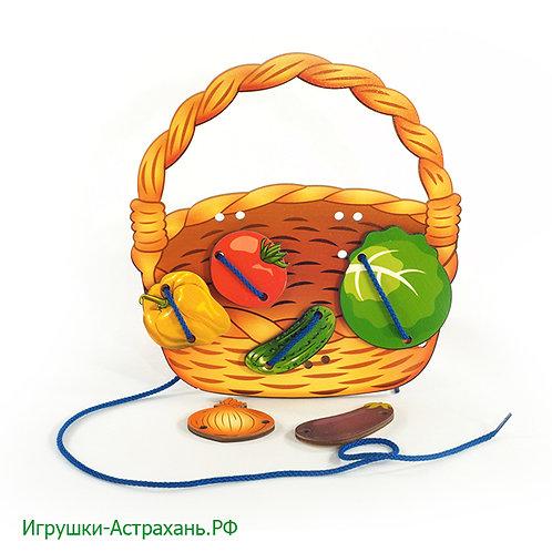 Нескучные игры. Шнуровка Корзина с овощами
