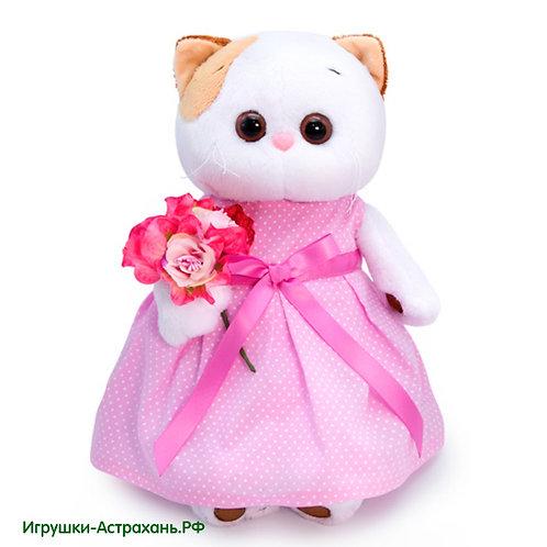 Мягкая игрушка Кошечка Лили в розовом платье с букетом