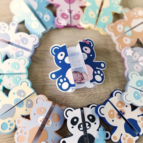 Kit de Faire-parts naissance ou Baptême - invitation anniversaire - Panda