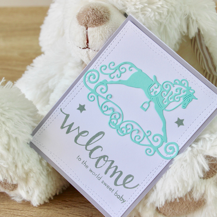 Carte welcome baby Cheval Bascule