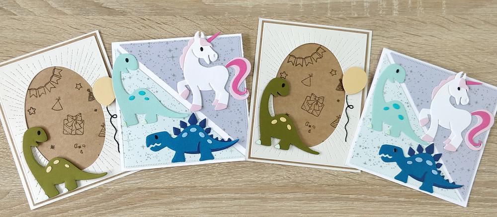 Invitations à un anniversaire Dinosaures / Licornes
