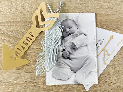 """Kit de Faire-parts de naissance ou de Baptême, invitation """"Flèche, Plume, Tipi"""""""