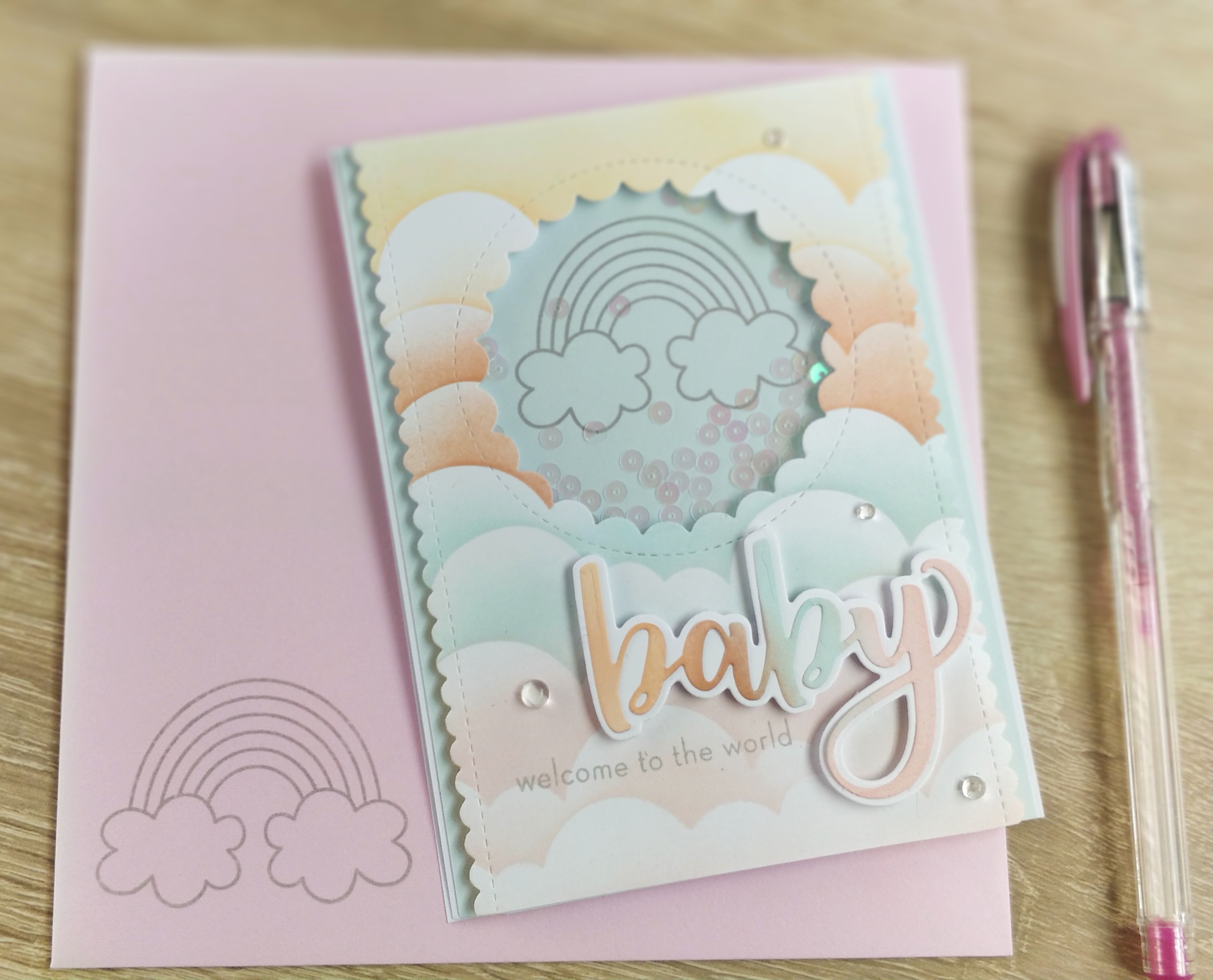 Rainbow Shaker Card  + enveloppe