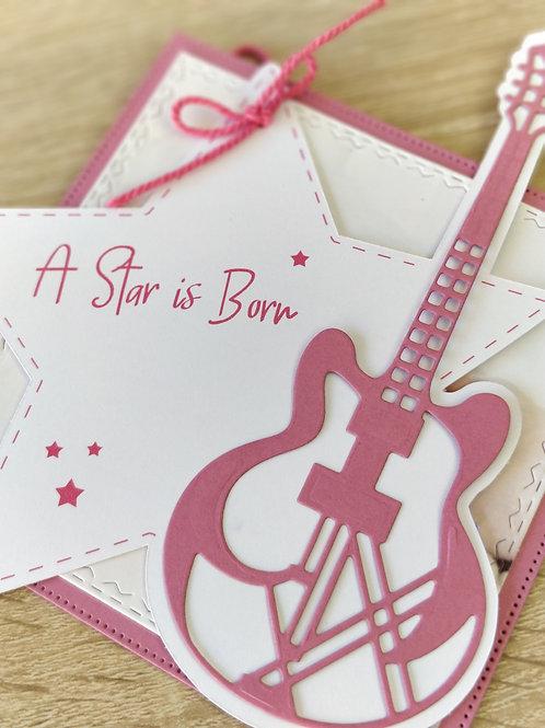 Faire-part de naissance ou de Baptême, invitation Guitare Rock