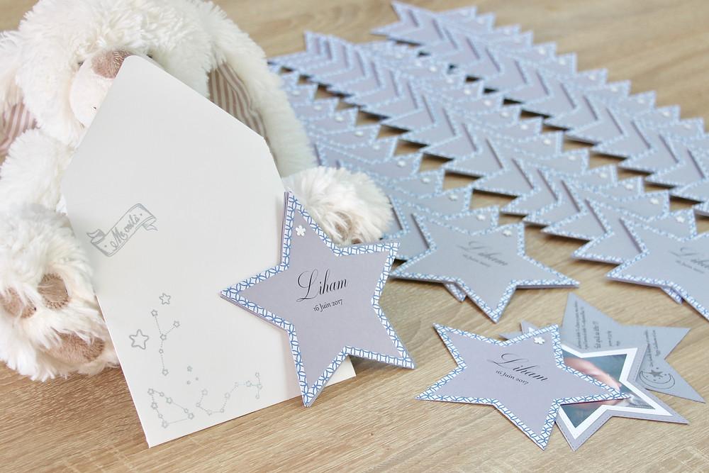 """Faire-parts de naissance """"étoiles"""""""