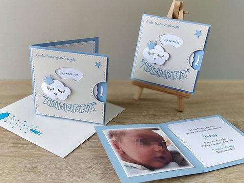 Kit de Faire-parts de naissance ou Baptême - Roue à choix, Nuage