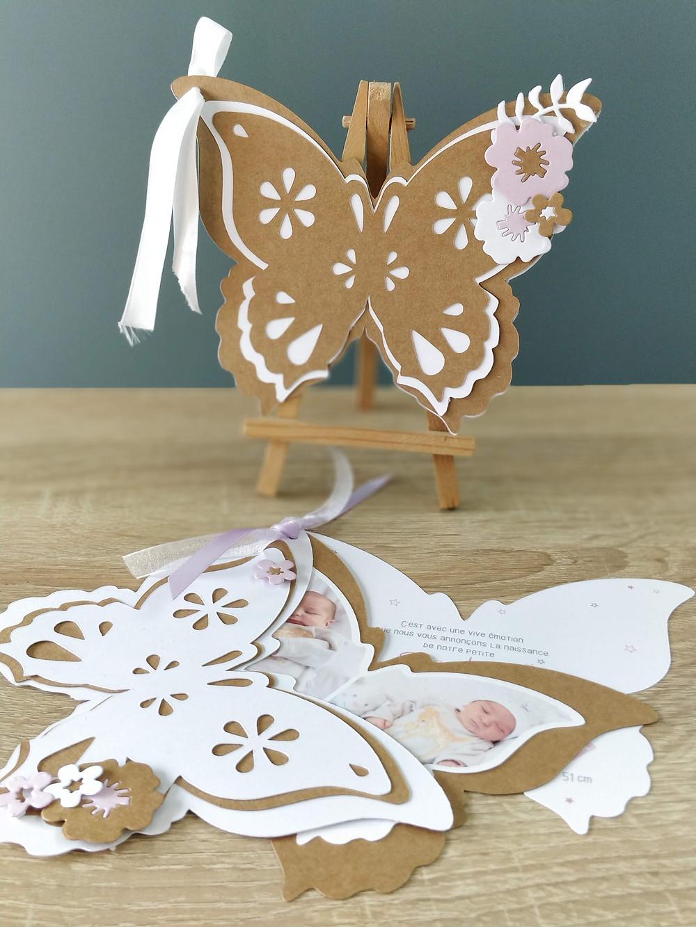 Faire-part Papillon, modèle en 3 volets
