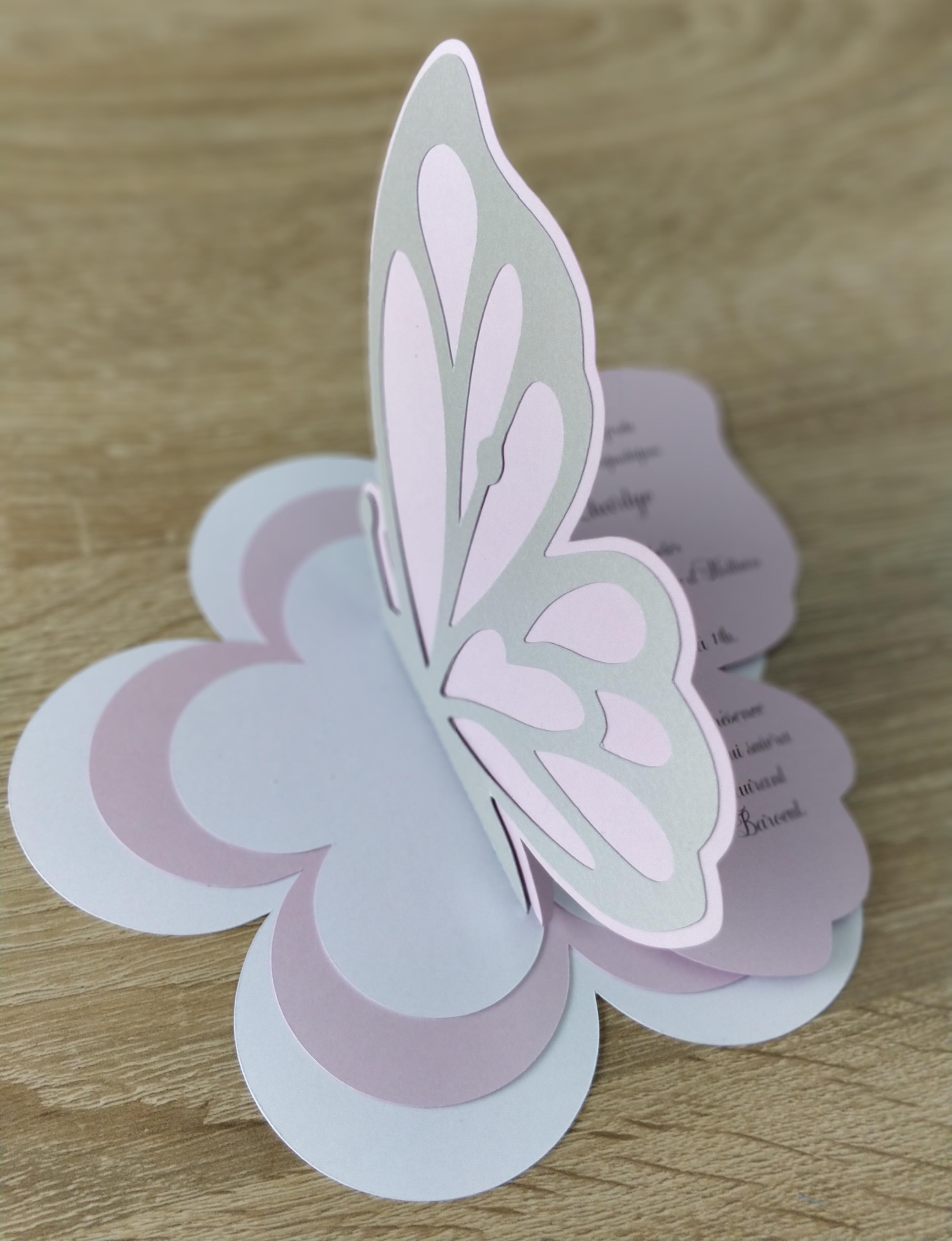 Faire-part Papillon et fleurs