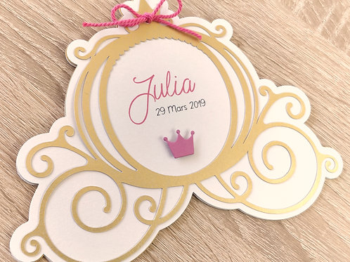 "Kit de Faire-parts de naissance ou de Baptême, invitation ""Carrosse de Princess"