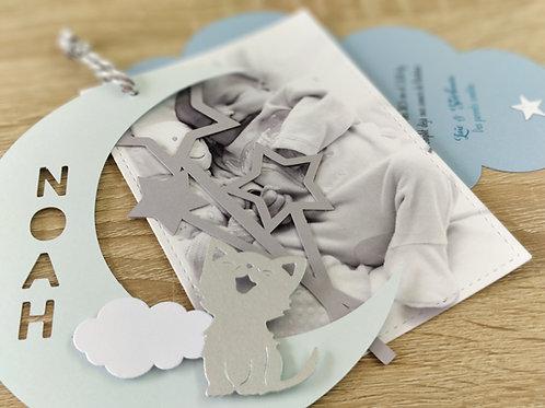 Kit de Faire-parts de naissance ou Baptême - invitation - Lune, étoiles et nuag