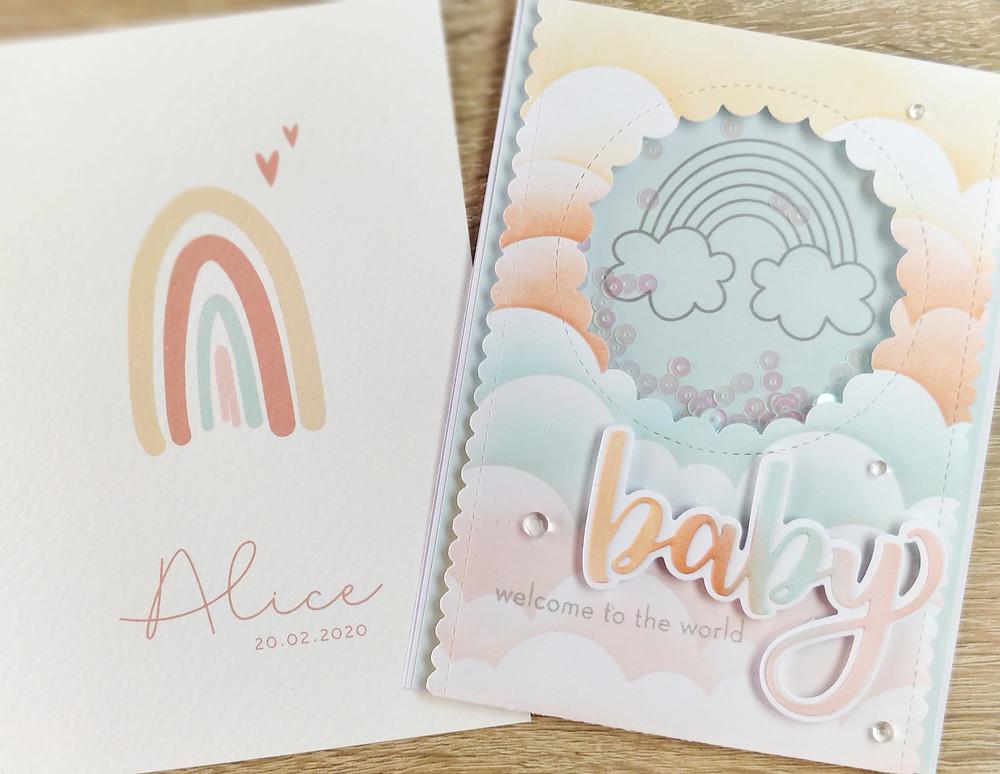 Bienvenue Bébé thème Arc en Ciel, coloris pastels
