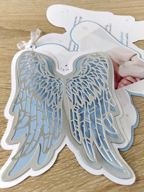 Kit de Faire-parts de naissance ou de Baptême, invitation Ailes d'Ange
