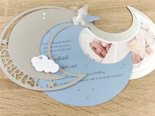 Faire-part de naissance ou de Baptême, invitation dans la Lune