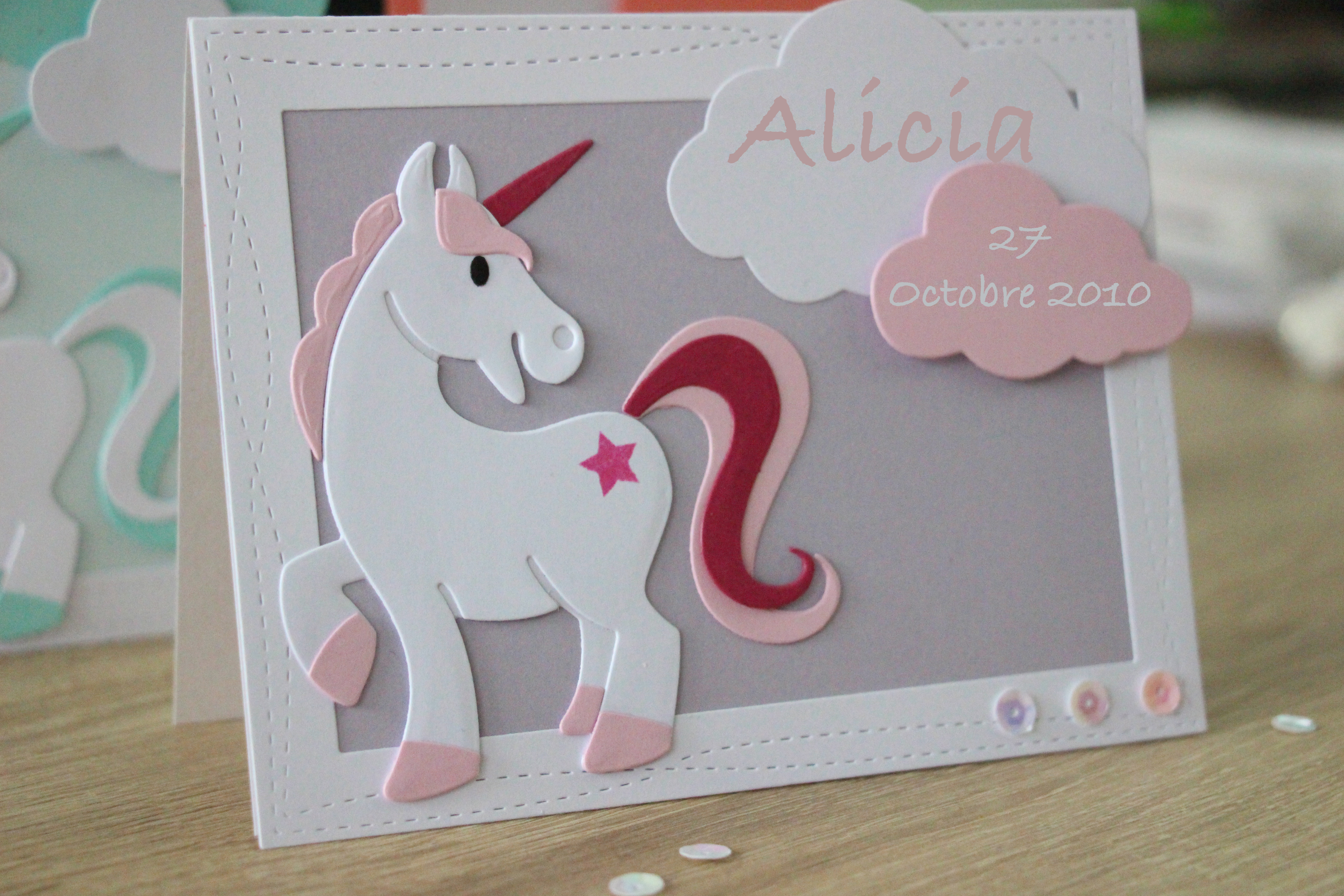 Faire-part Licorne rose