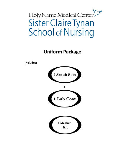 Holy Name School of Nursing Uniform Package (Extended Sizing XL-4XL)