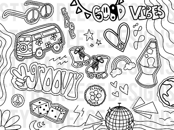 groovy times coloring sheet