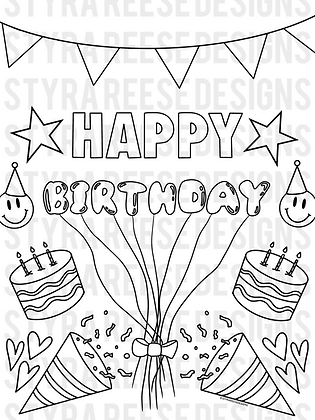 happy birthday FULL PAGE coloring sheet