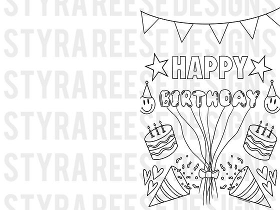 happy birthday HALF PAGE DIY CARD coloring sheet