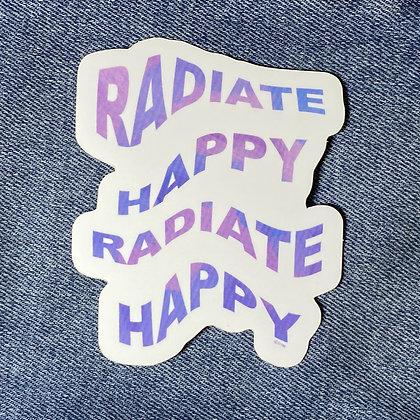wavy radiate happy sticker