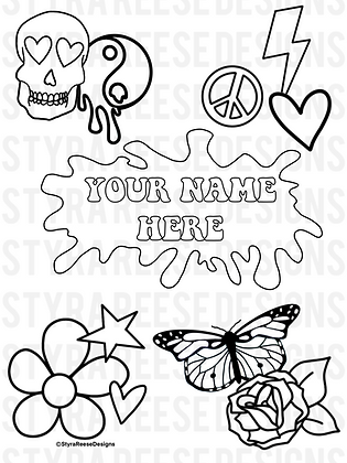 personalized flower pop coloring sheet
