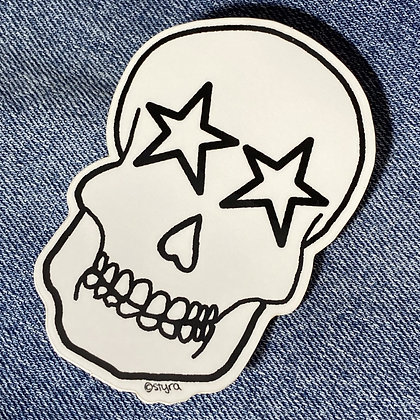star eyed skull sticker
