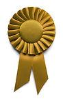 Golden Award Ribbon Isolated on White Ba