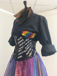 Top half of the drag costume with printed sections on the corset.