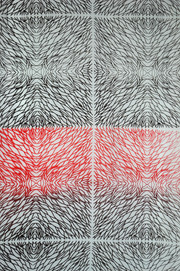 Black and red printed try out oncotton using my design based on sand patterns.