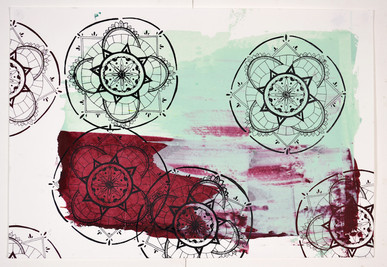 Screen printing try out using red and green colour mix background.