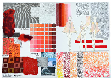 Mood board for printed designs based on sand patterns.