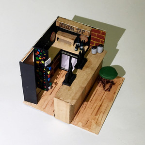 Scale model of a 3x3m section - I chose to do the bar in the Brecon Tap pub.