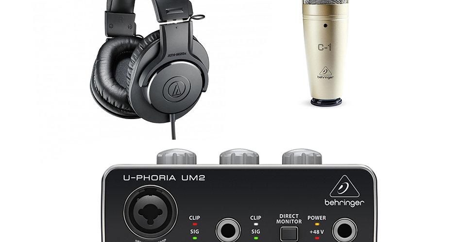 Studio Pack 1 (Behringer C1 condenser mic & UM2 audio interface and ATH M20x)