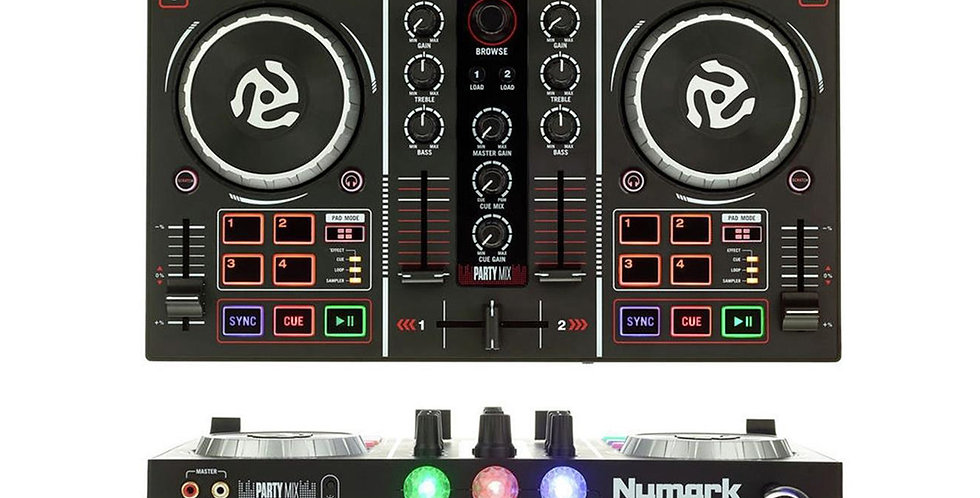 Numark Party Mix   DJ Controller with Built-in Audio Interface and Light Show