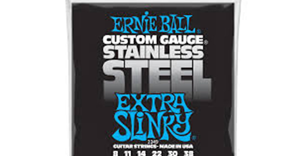 Ernie Ball 2249 SLINKY STAINLESS STEEL WOUND ELECTRIC GUITAR STRINGS - 8-38 GAUG