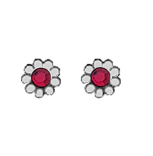 Flower Stud Earrings White