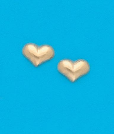 Wide Heart Stud Earrings
